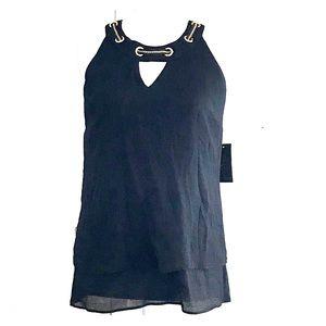 NWT Thalia Sodi deep black halter blouse